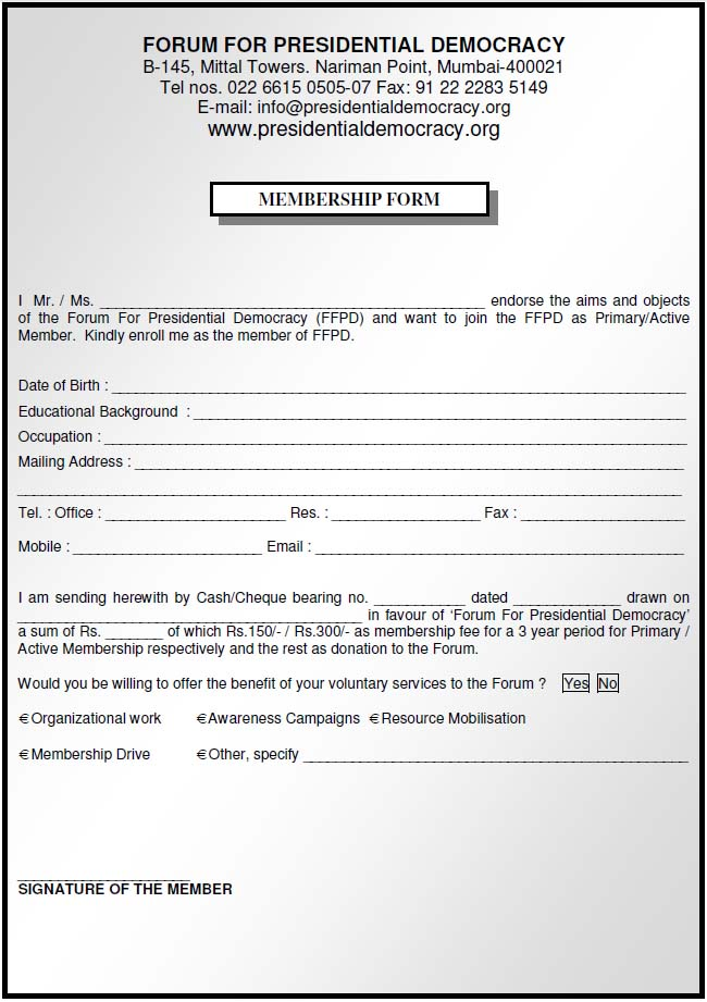 Membership Form - Forum For Presidential Democracy